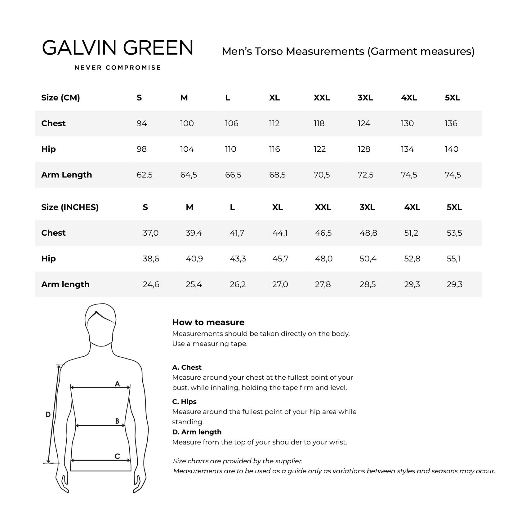 galvingreen-compressionwear-mens size chart