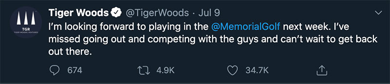 tiger woods tweet memorial golf logo